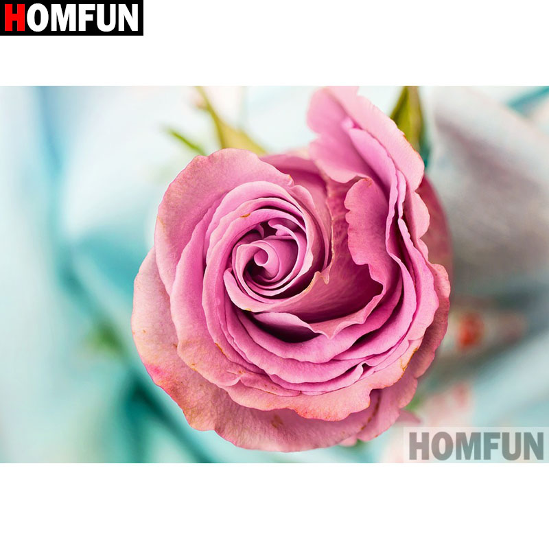 HOMFUN Full SquareRound Drill 5D DIY Diamond Painting flower Embroidery Cross Stitch 5D Home Decor A16474