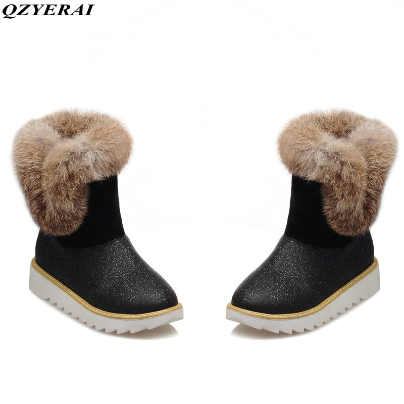 QZYERAI Winter warm lady snow boots rabbit hair anti-slip soles plush waterproof women shoes women boots 18mm first layer genuine leather watch band for huawei watch fit honor s1 stainless steel buckle strap wrist belt bracelet