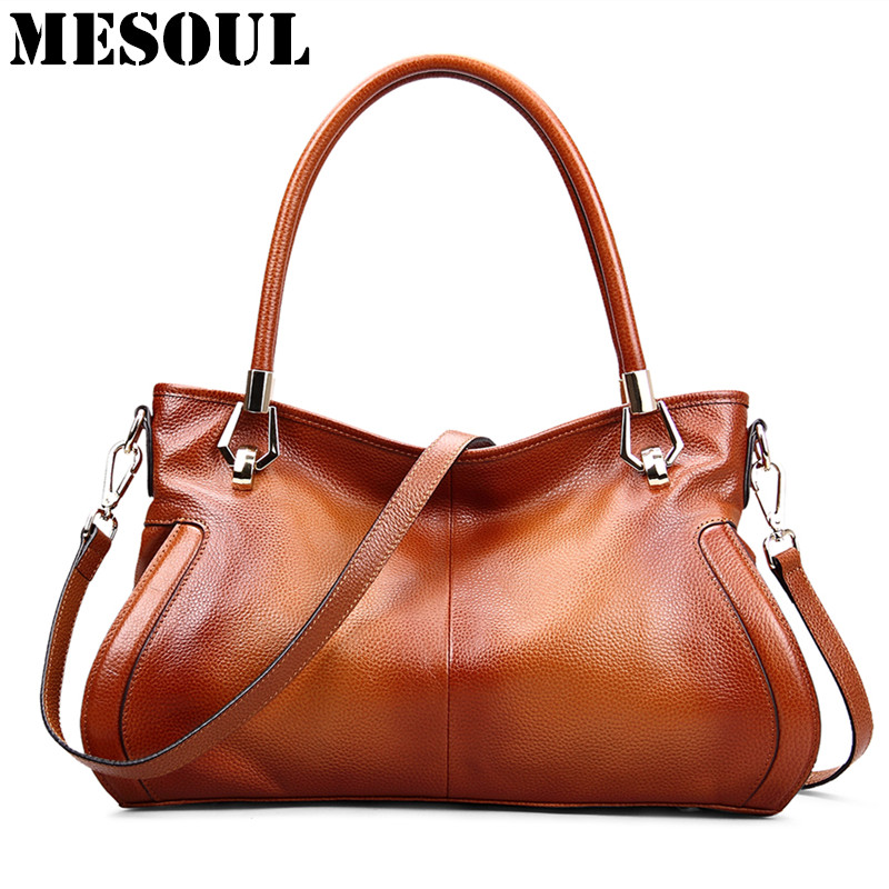 MESOUL Brand Women's Cow Leather Handbags Female Shoulder bag designer Luxury Lady Tote Large Capacity Zipper Handbag for Women-in Shoulder Bags from Luggage & Bags    1