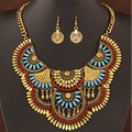 (Necklace+Earrings) SPX6271 Fashion Hot Sale Metal Vintage Jewelry Sets Big Stone Beaded necklace with Earrings wholesale