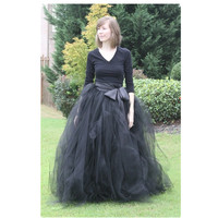 Graceful Black Pleated Ball Gowns For Women 2019 Plus Size Floor Length Layers Tulle Skirts Evening Party Skirts With Sashes