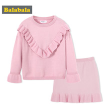 Balabala children's autunm Knitted skirt suit for girls enfant Children clothing girl clothes with cute falbala fashion suit(China)