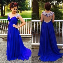 Plus Size 2017 Blue Chiffon Sweetheart Back Sheer Beading Custom Made Cheap Women Long Gowns Evening Dresses
