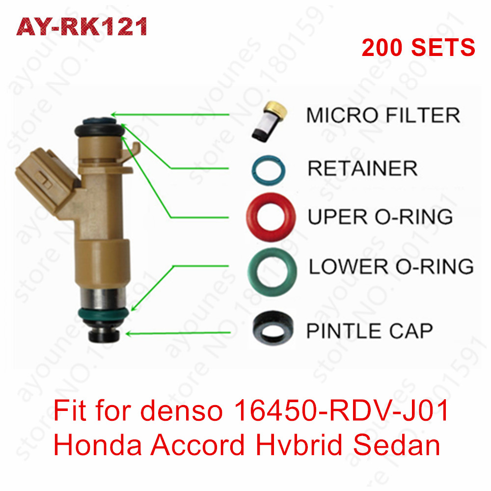 200kits For Honda Acura RDX RSX Accord Hybrid Fuel injector repair kits Micro Filters Viton Oring Pintle Cap (AY RK121)
