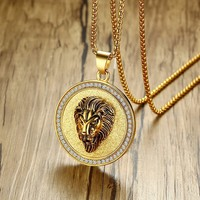 Lced Out Lion King Pendant Necklace In Gold Tone Stainless Steel With Rhinestone Around Men Hip