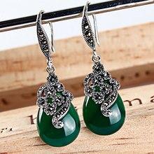 925 plata esterlina cuelga los pendientes de la vendimia rubí granate ágata calcedonia verde ópalo de la joyería para las mujeres de la india