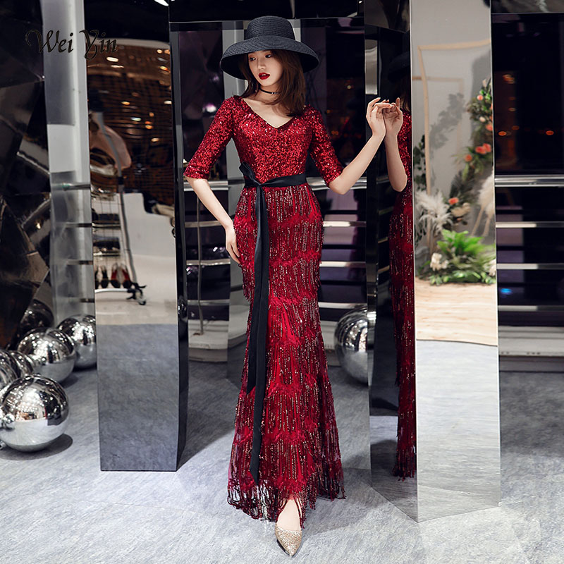 wei yin 2019 New V Neck Mermaid Long   Evening     Dresses   Robe De Soiree Sexy Luxury Wine Red Tasse Formal Party   Dress   WY1592