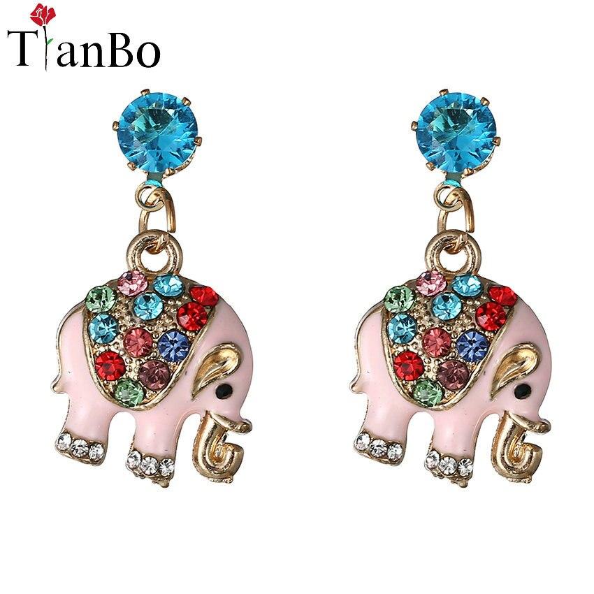 TianBo Colorful Crystal Stud Earrings Women Jewelry Cute Elephant Stud Earrings Animal Brinco Gold Color Statement Earrings