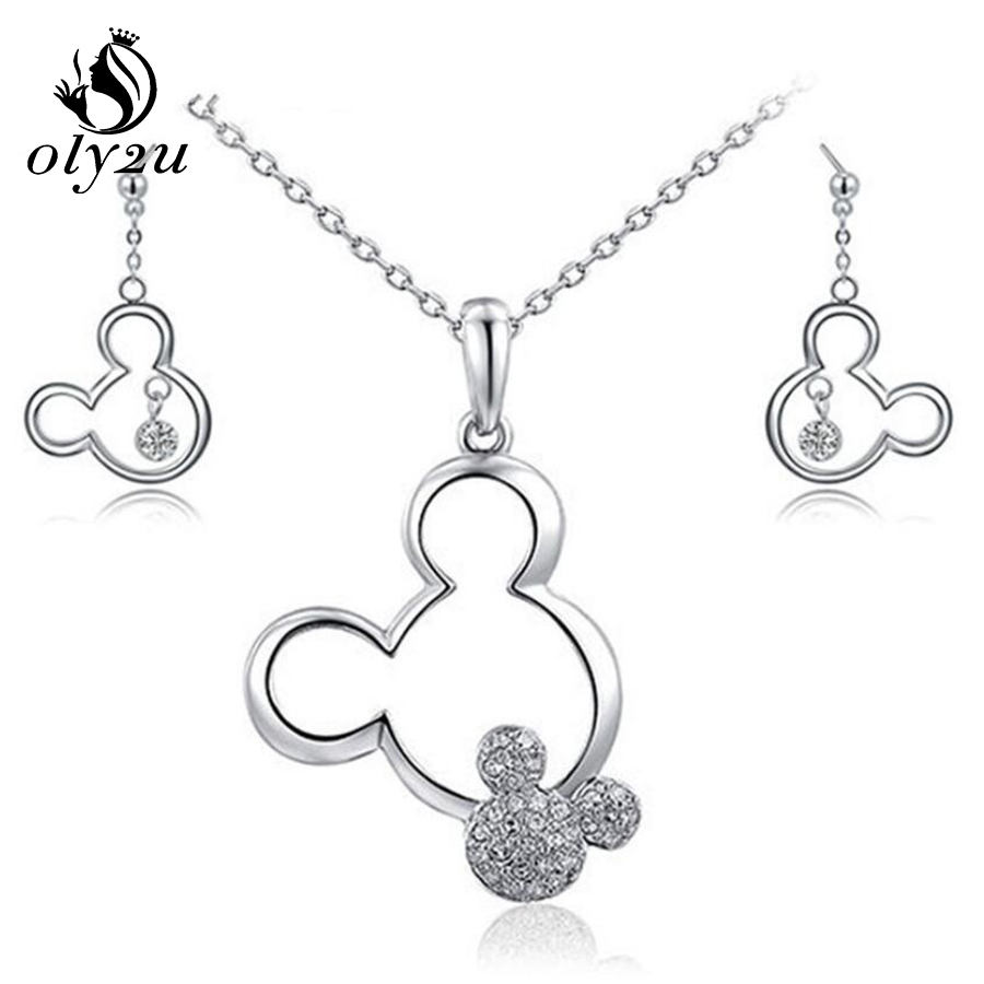 CrystalMicky Necklace Earrings Jewelry Sets