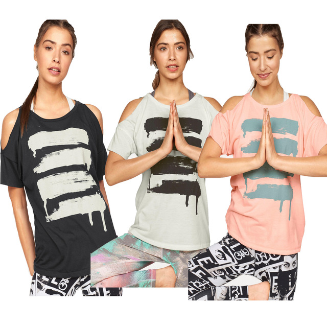 e059c3b2c1322d Sexy Off Shoulder Yoga Top Black Pink White Loose Short Sleeve Sport  T-shirts Women T Shirts Gym Fitness Running Sport Clothing