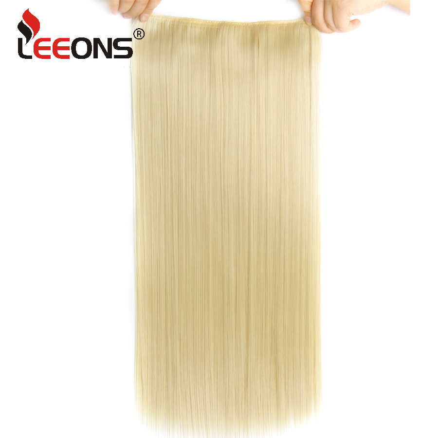 Leeons High Temperature False 5 Clip In Hair Extension Hairpieces Straight Synthetic False Hair Piece Mega Hair Black Brown(China)