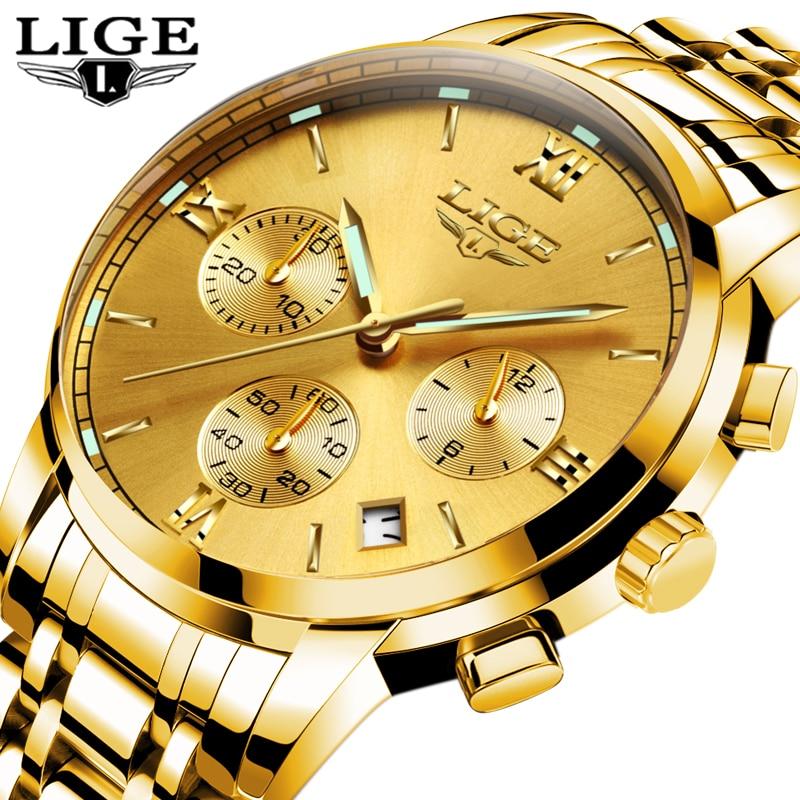 LIGE Mens Watches Top Brand Luxury Business Quartz Gold Watch Men Full Steel Fashion Waterproof Sport