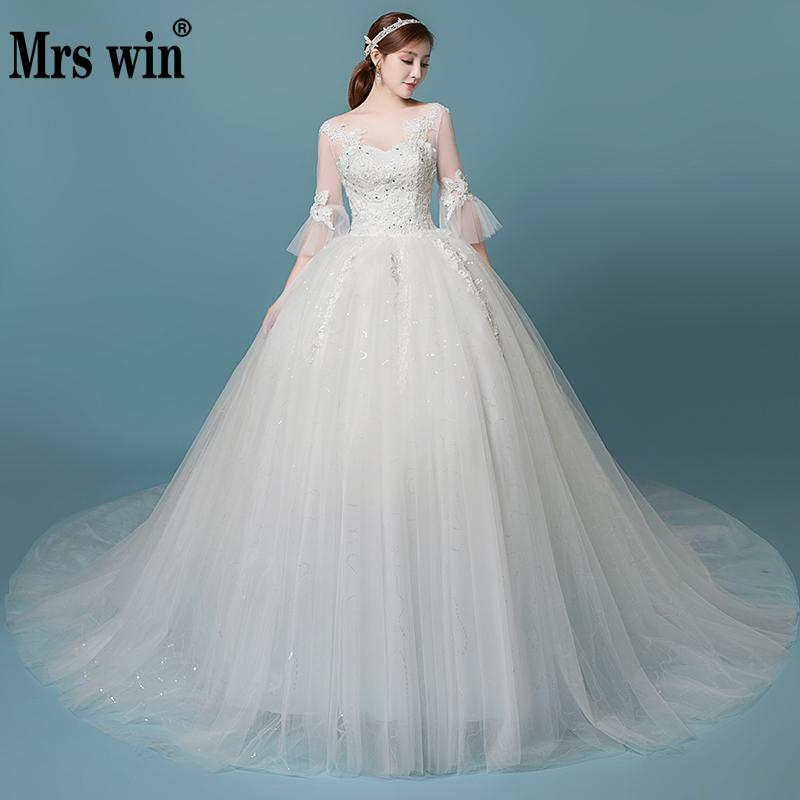 Vestido De Noiva 2019 New Robe De Mariee Grande Taille Mrs Win V-neck Sweep Train Ball Gown Vestido De Novias Noble Wedding Gown