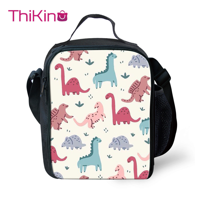 Thikin Dinosaur Cartoon Cooler Lunch Box Portable Insulated Bag Tote PouchThermal Food Picnic Bags For Women Kids