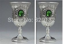 10 pair !Chinese Collectable Old Silver Decorated Handwork Inlay Jade Wine Cup 10pcs  Wholesale Hook