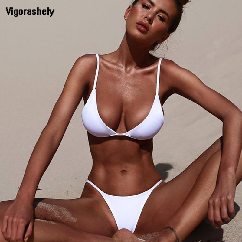 Vigorashely 2019 White Sexy Bikini Set Women Swimsuit Solid Beachwear Push Up Swimwear Brazilian Bikini Set Thong Bathing Suit