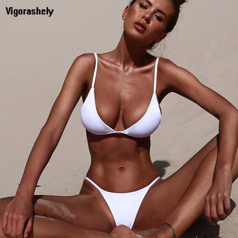 Vigorashely 2019 blanco Sexy Bikini mujeres traje de baño de Bikini Push Up traje de baño Set de Bikini brasileño traje de baño