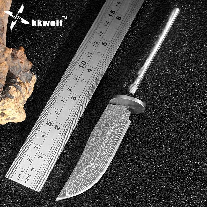 KKWOLF DIY rögzített penge kés Magas széntartalmú acél utánzat Damaszkusz kemping vadászkések éles túlélési kés Több eszköz zseb