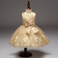 Retail High Quality Elegant Girls Summer Evening Pron Dress Embroidery Knee Length Girls Flower Girls Dress