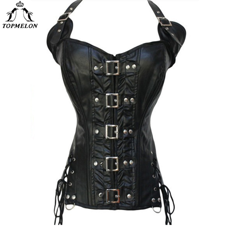 TOPMELON Vintage   Bustier   Steampunk Leather   Corset   Halter Buckles Design Rivets Decorated Slimming Top for Women