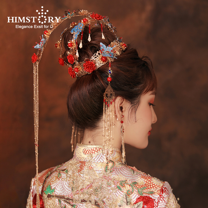 HIMSTORY Luxurious Vintage Chinese Traditional Wedding Jewelry Adorn Queen Tibetan Style Pageant Phoneix Coronet TiarasHIMSTORY Luxurious Vintage Chinese Traditional Wedding Jewelry Adorn Queen Tibetan Style Pageant Phoneix Coronet Tiaras