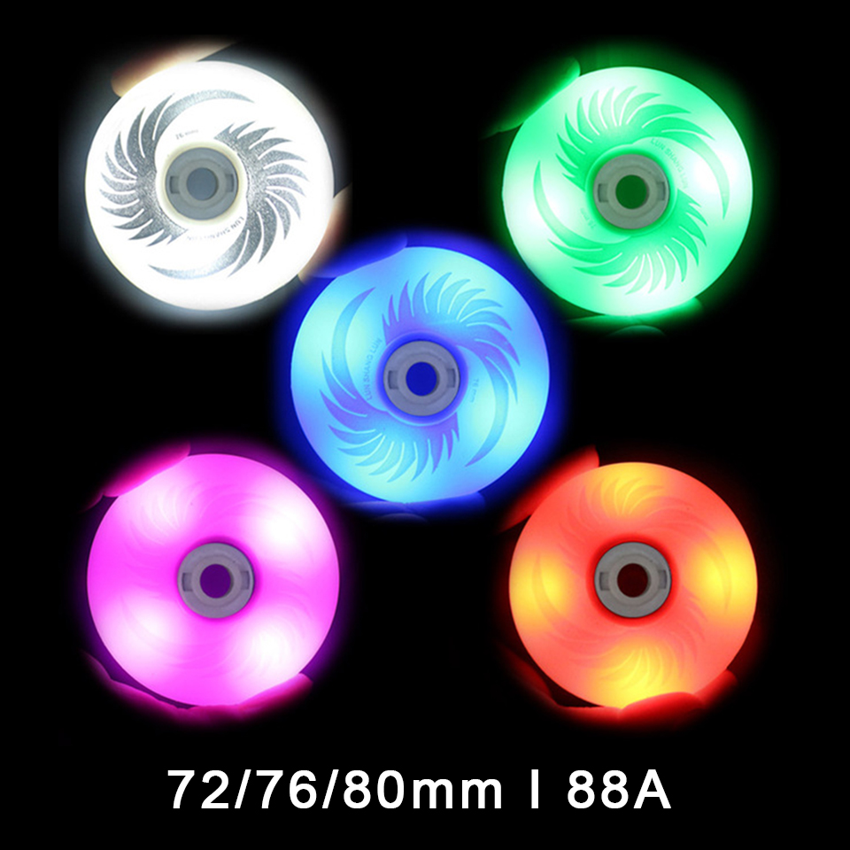 80mm 76mm 72mm 88A LED Flashing Wheels With 8 PCS Magnetic Core For Slalom Slide Inline Skates 4 Led Roller For Adult Kids LZ51