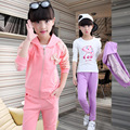 1Sets=3pcs Autumn Warm Girls Coats Sets Cotton Breathable Toddler Long Sleeve Shirts+Hoodies Jacket+Pants Children Girls Clothes