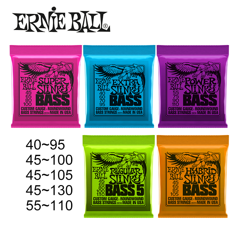 Original Ernie Ball 2831/2833/2834/2835/2836 Hybrid Slinky Round Wound Bass Strings [For 5-String / 4-String Bass] alice 5 string banjo strings coated copper alloy wound and plated steel string 0