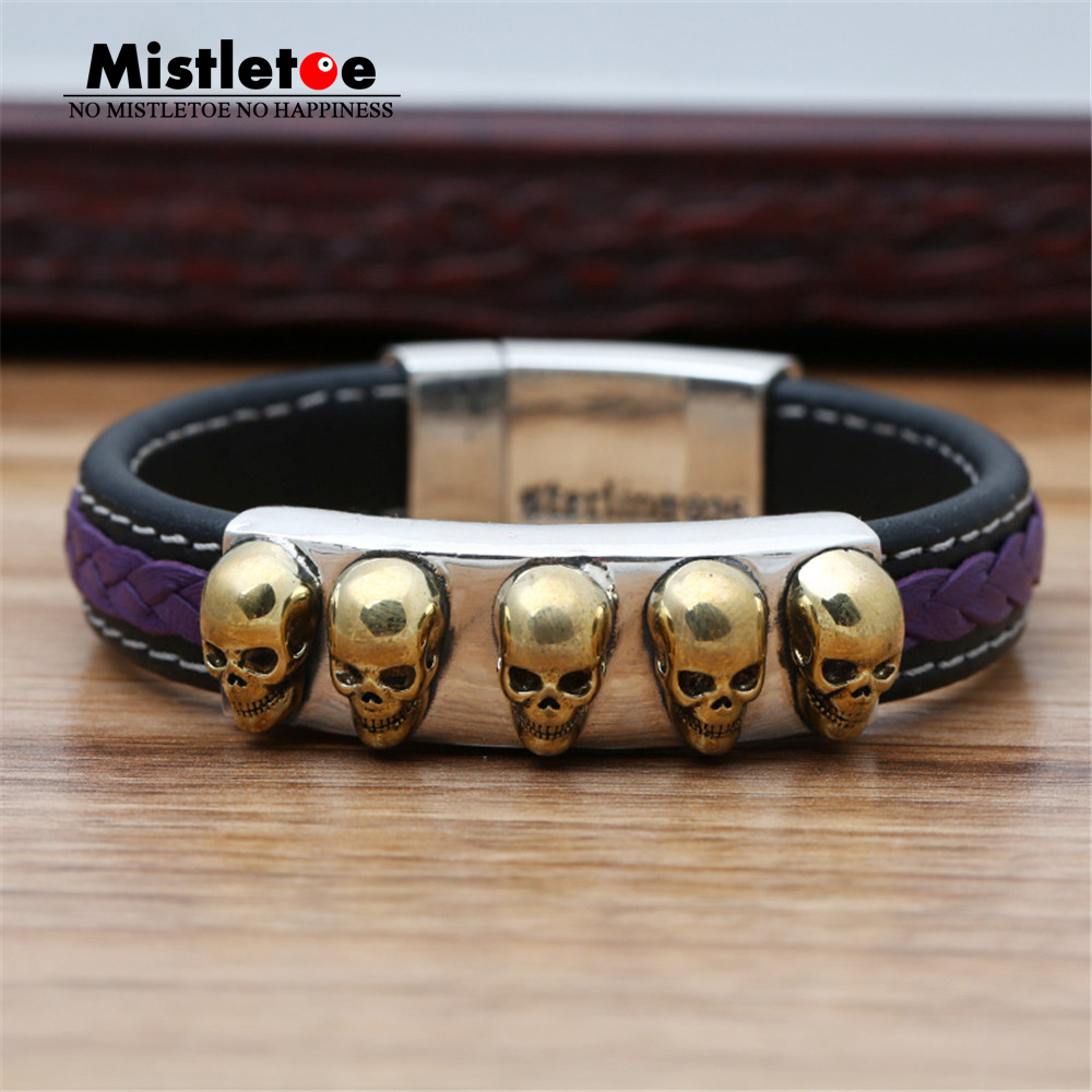 Authentic 925 Sterling Silver Vintage Punk Locomotive Skulls Leather 19cm Bracelet For Women & Men Jewelry
