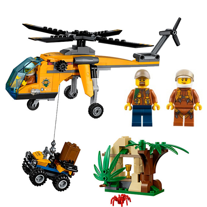 LEPIN City Jungle Cargo Aircraft Helicopter Building Blocks Sets Bricks Classic Model Kids Toys DIY Marvel Compatible Legoings lepin town bus station city building blocks sets kits bricks model kids classic toys marvel compatible legoings