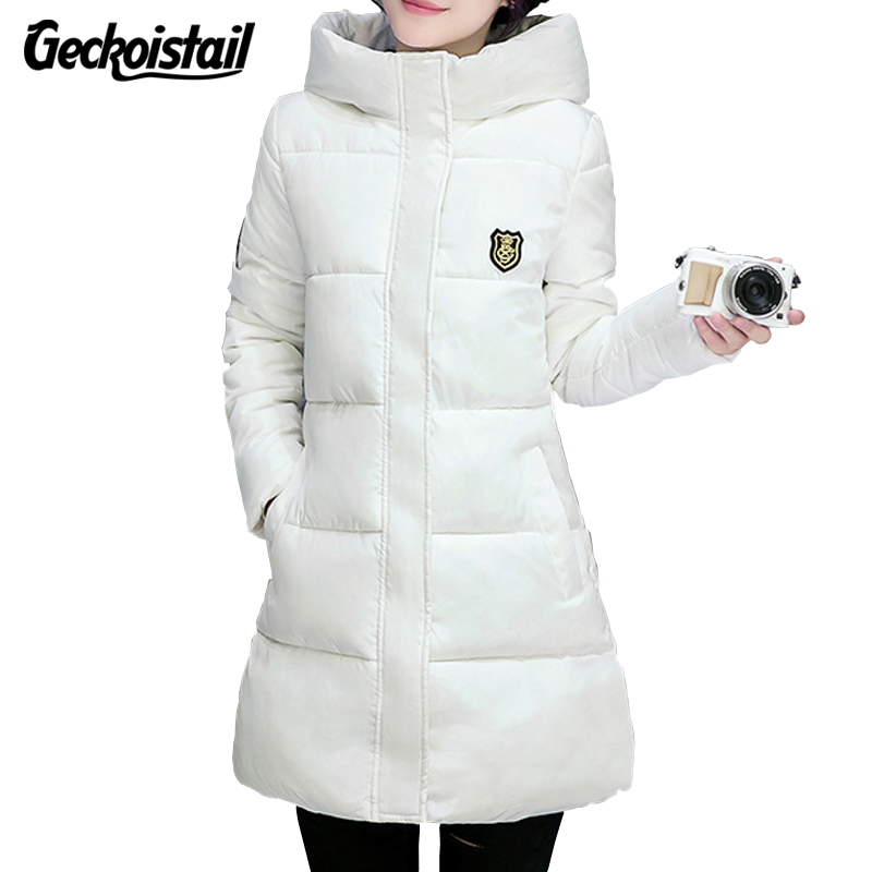 Geckoistail White Winter Coat Women 2017 New Long Parkas Fashion Students Slim Female Clothing Plus Size Thick Jackets Outwear geckoistail 2017 new fashional women jacket thick hooded outwear medium long style warm winter coat women plus size parkas