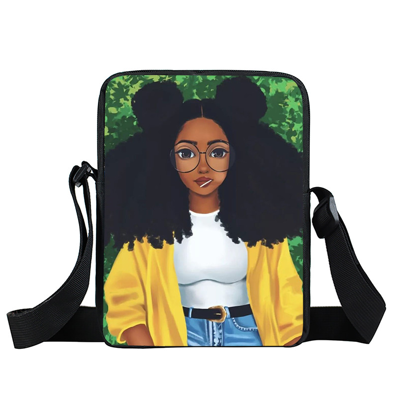 Afro Lady Girl messenger bag Africa Beauty Princess small shoulder bag brown women handbag mini totes teenager crossbody bags 36