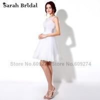 Fashionable White Lace Short Wedding Dresses 2015 Luxury Pearls Open Back Mini Bridal Gown Dress Vestido