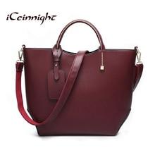 Iceinnight estilo europeo mujeres bolsas 2017 bolsas bolso bolsos de la manera del vino rojo bolsas de mensajero famosa marca de cuero cubo bolsa