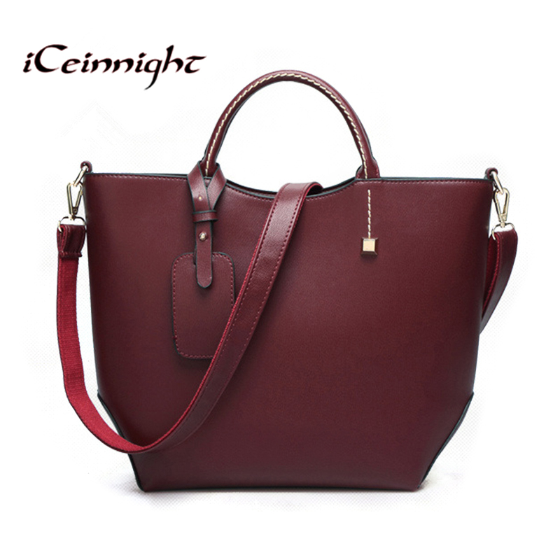 iCeinnight European style women bags 2017 bag handbag fashion handbags wine red messenger bags famous brand bucket leather bag