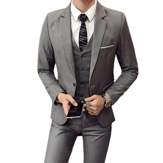 Blazers Pants Vest 3 Pieces Sets / Fashion men's casual boutique business Wedding Groomsmen suit jacket coat trousers waistcoat