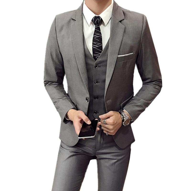 Greenspine Mens 3 Pieces Suit Elegant Solid Slim Fit Double Breasted Party Blazer Vest Pants Set