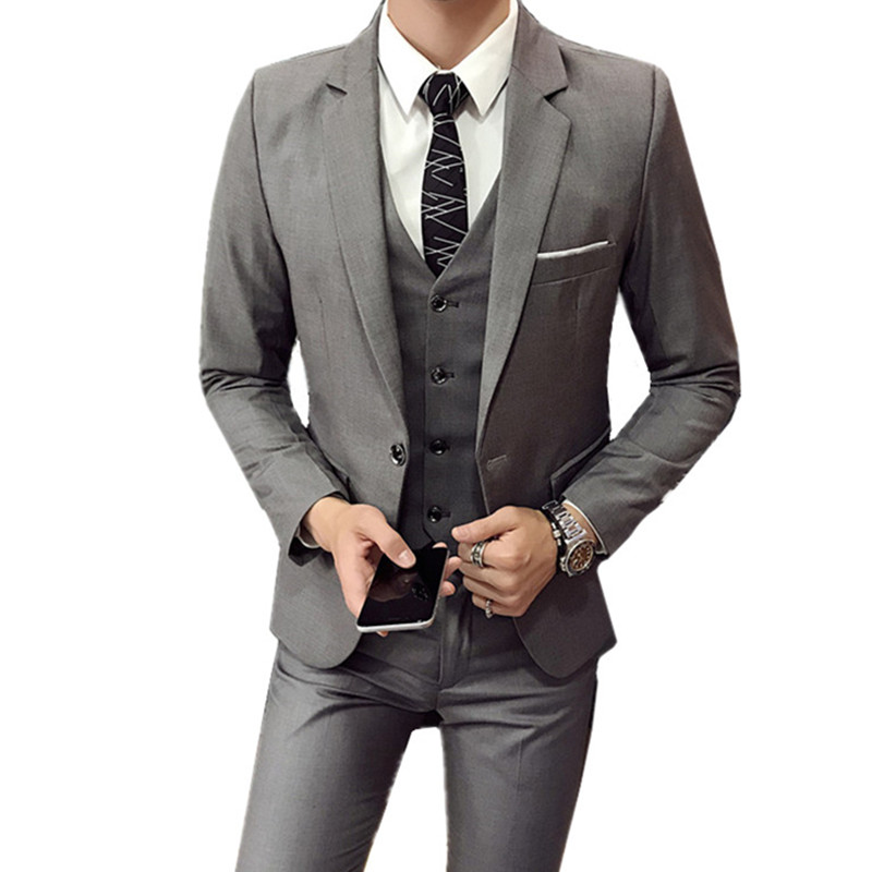 Blazers Pants Vest 3 Pieces Sets / Fashion men's casual boutique business Wedding Groomsmen suit jacket coat trousers waistcoat