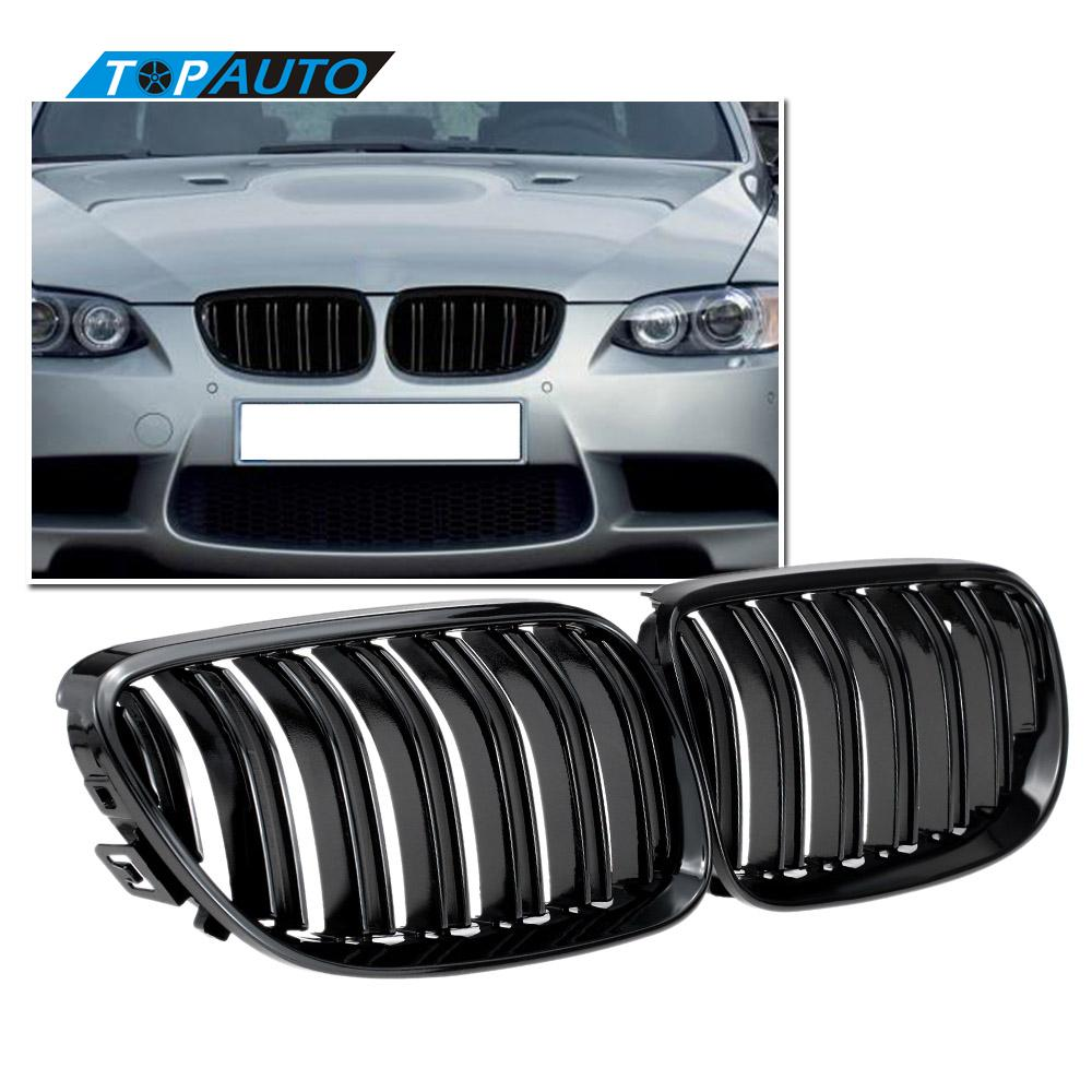 for BMW 3 Series E92 E93 2D Coupe 2010 2014 Gloss Black Front Lower Kidney Grille Double Mesh Slat M4 Sport Style Grill