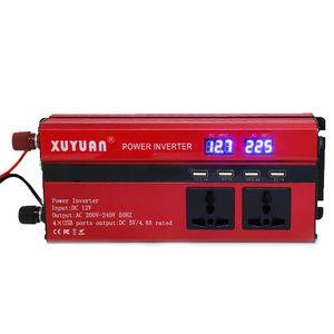 Image 1 - 4000W güneş güç inverteri sinüs dalgası LED 4 USB DC12/24V AC110V/220V dönüştürmek