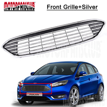 For Ford Focus 2015 2016 Chrome Upper Centre Grille Front Bumper Black ABS Grill