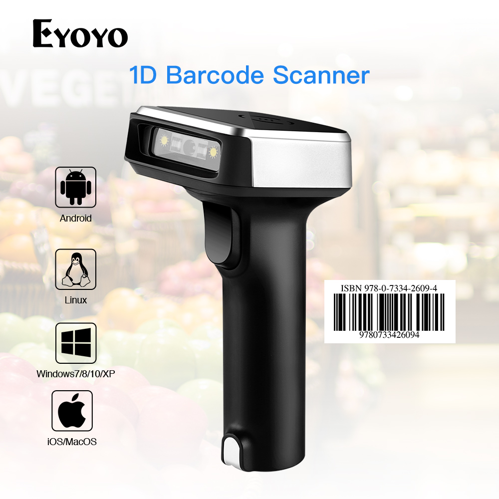 $38.79 Eyoyo CCD 2.4G Wireless Barcode Scanner for POS iPad iPhone Android Phones Tablets or Computers PC with USB Receiver