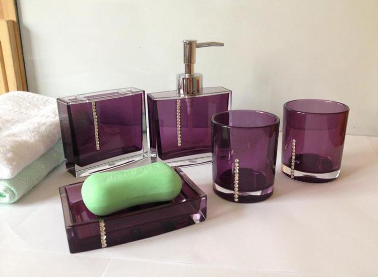 Free shipping Classic Bathroom Set 5pieces Purple White