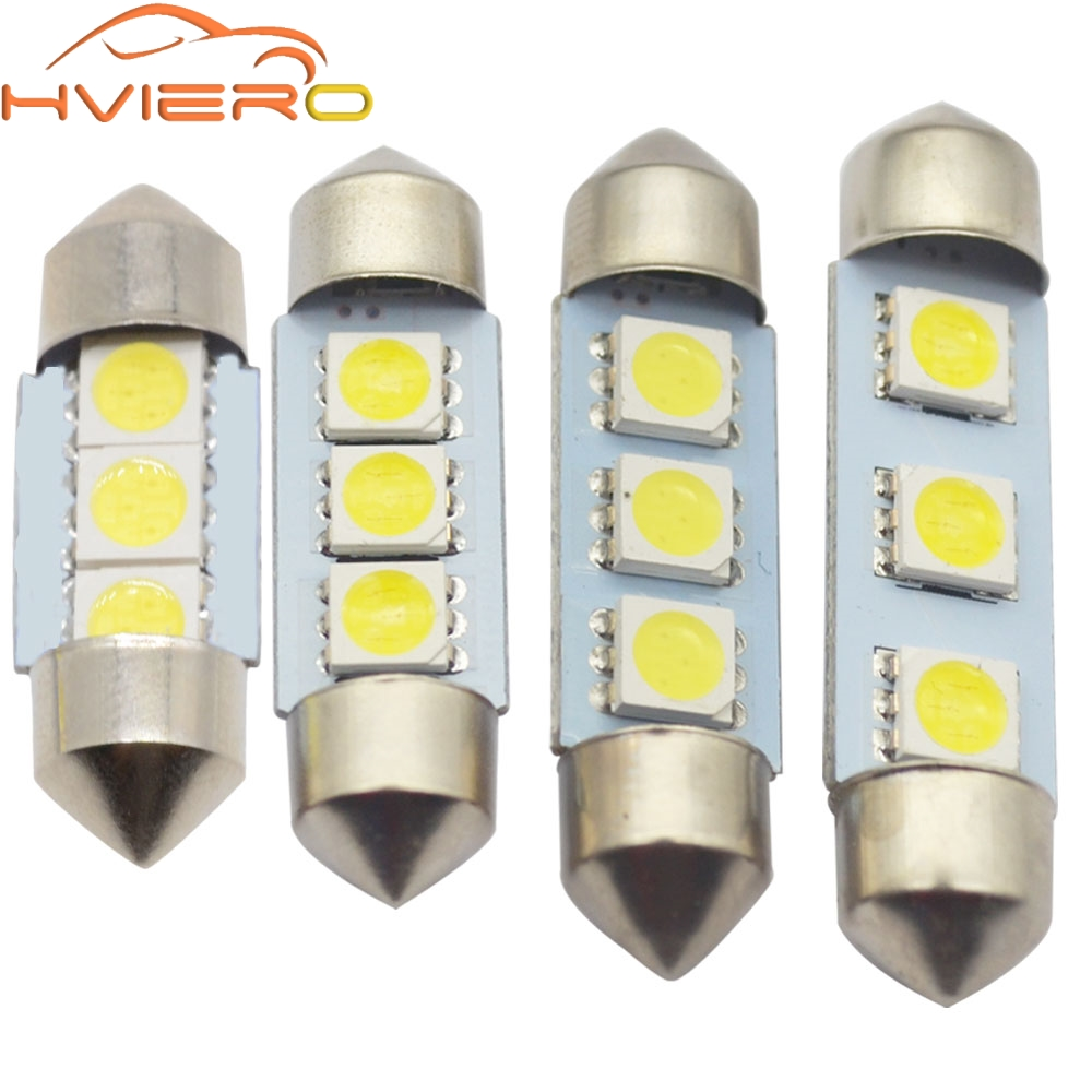 цены White Car Led C5W 5050 3 Smd 3Smd 31mm 36mm 39mm 41mm Dc 12v Festoon Interior Dome Door Light Free Light Lamp turn signal Bulb