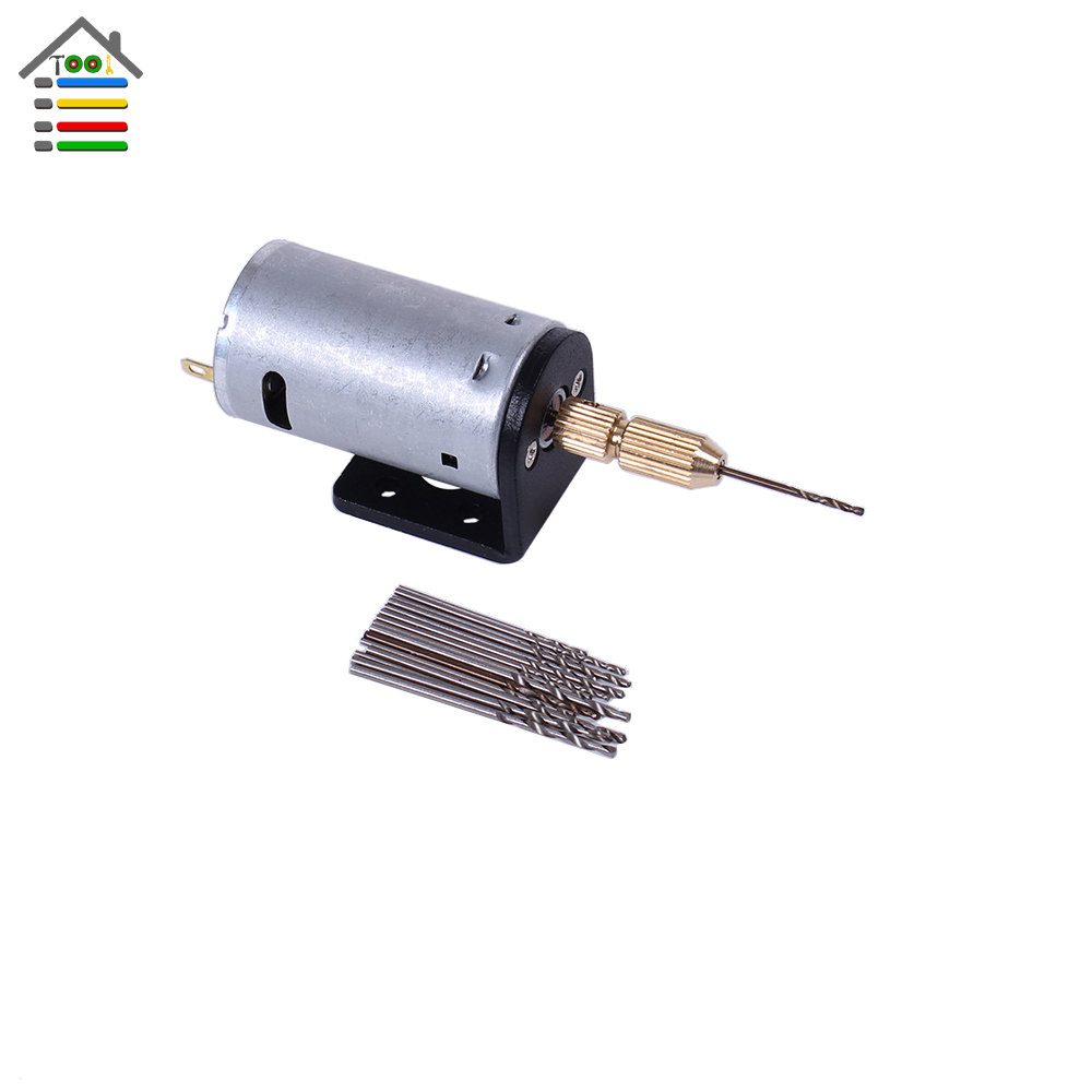Mini DC 12V Electric Motor Hand Drill PCB Wood Press Drilling w/ 16pc 0.8mm-1.5mm Twisit Bits and Stand Bracket 2.3mm Shaft autotoolhome mini dc 12v electric motor for wood pcb hand drill press drilling 0 5 3mm twist bits and jto chucks bracket stand