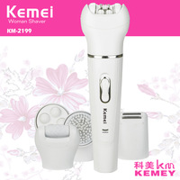 kemei 5 in 1 lady shaver female epilator depilador callus remover cleansing brush massager hair electric shaver removal