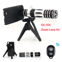 High Quality 5X 15X Zoom Lentes Telescope Telephoto Lens with Tripod For iPhons 7 6 5 Samsung S4 S5 S6 S7 edge note 2 3 5 Cases