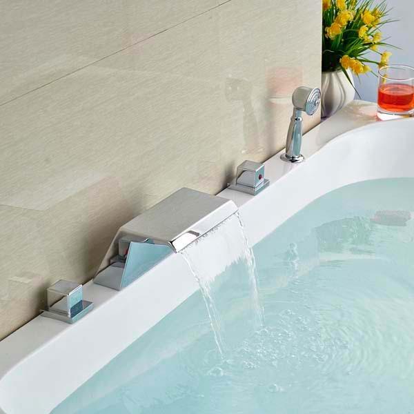 цена на Chrome Finish Waterfall Bathroom Tub Faucet 5 PCS Mixer Tap with Hand Sprayer