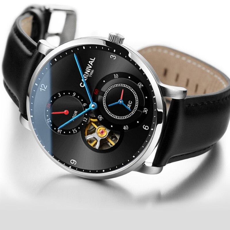 Tourbillon montre automatique hommes carnaval 2019 montres mécaniques bracelet en cuir petit second cadran 24 heures saphir montre squelette