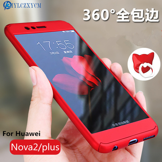 competitive price a2d48 7cad8 US $7.46 |KIYLCZXYCM For Huawei Nova 2 Case Hard Shockproof Cover 360  Degree Full Coverage Protective For Huawei Nova 2 Plus+Glass Film-in Fitted  ...